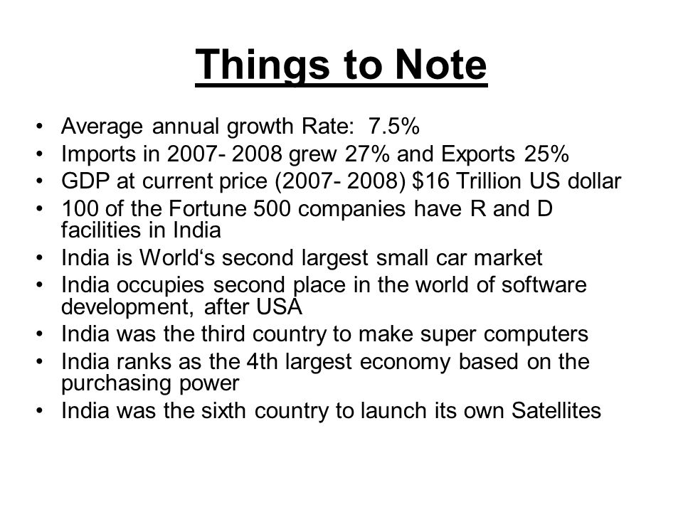 Things to Note Average annual growth Rate: 7.5%