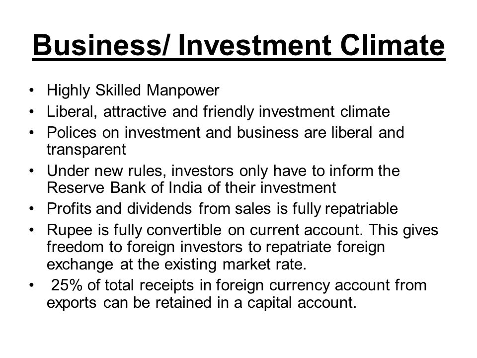 Business/ Investment Climate