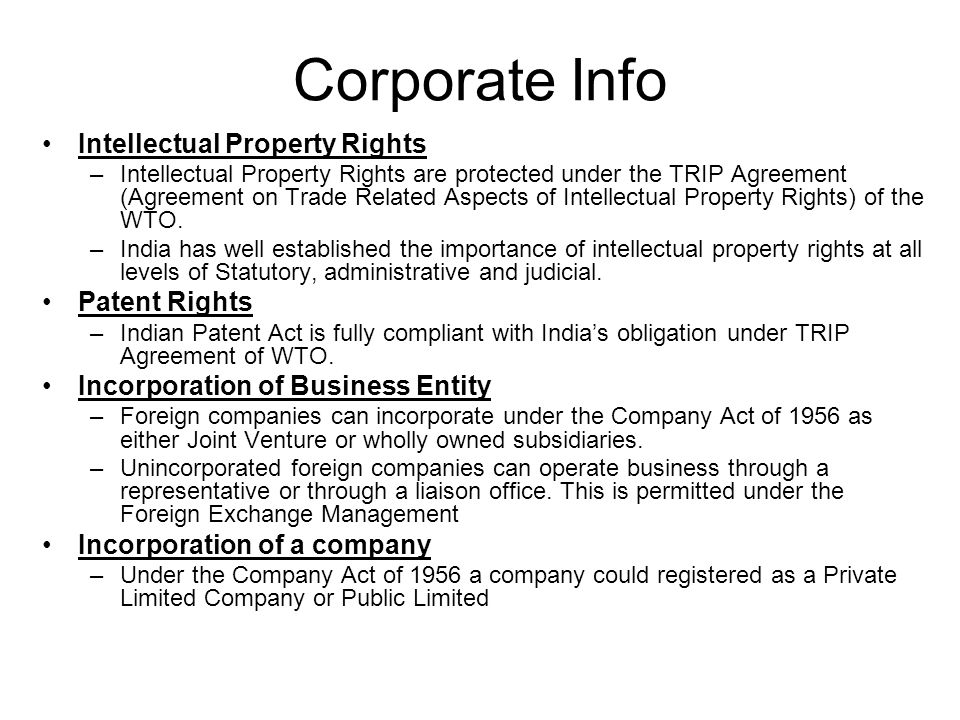 Corporate Info Intellectual Property Rights Patent Rights