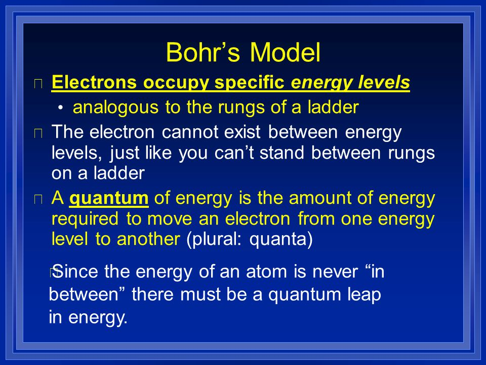 Bohr's Model Electrons occupy specific energy levels