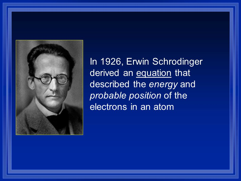In 1926, Erwin Schrodinger derived an equation that described the energy and probable position of the electrons in an atom
