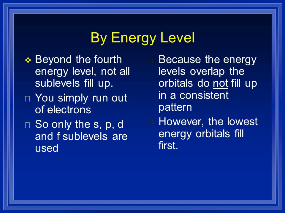 By Energy Level Beyond the fourth energy level, not all sublevels fill up. You simply run out of electrons.