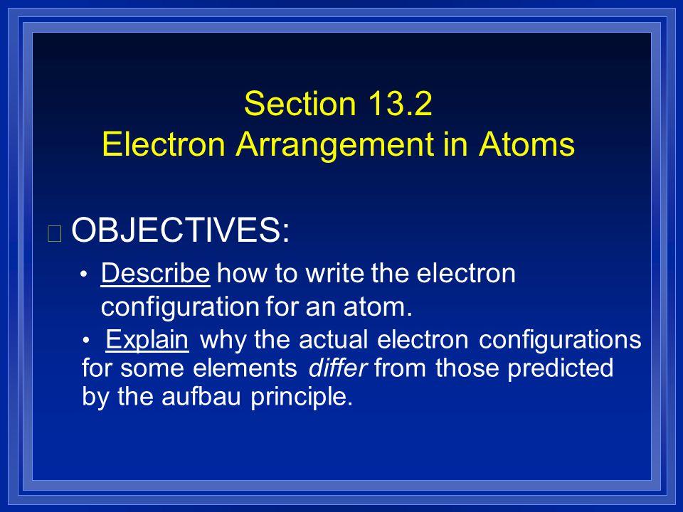 Section 13.2 Electron Arrangement in Atoms