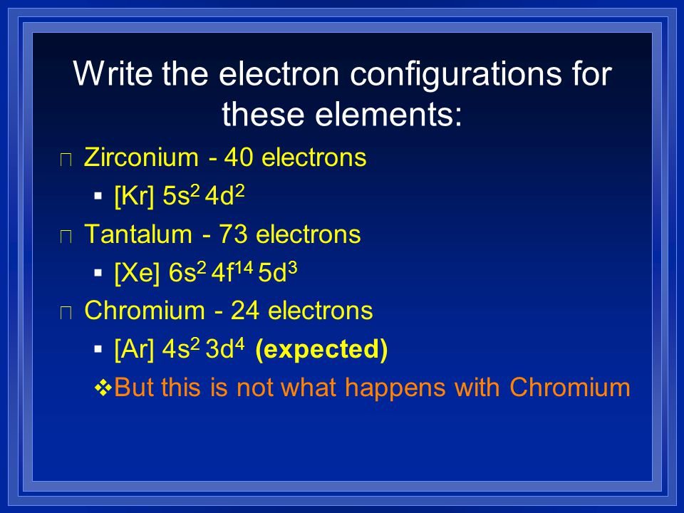 Write the electron configurations for these elements: