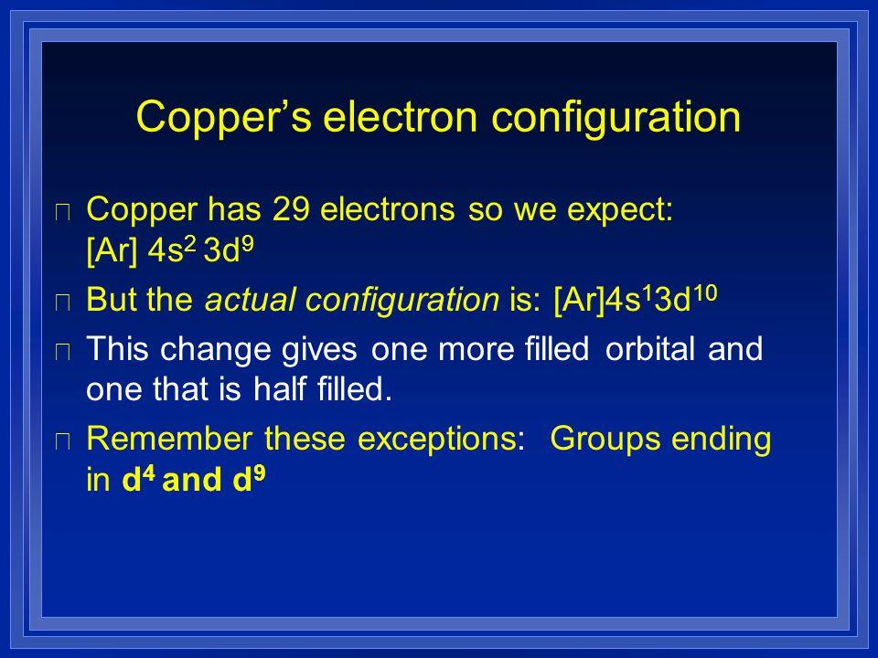 Copper's electron configuration