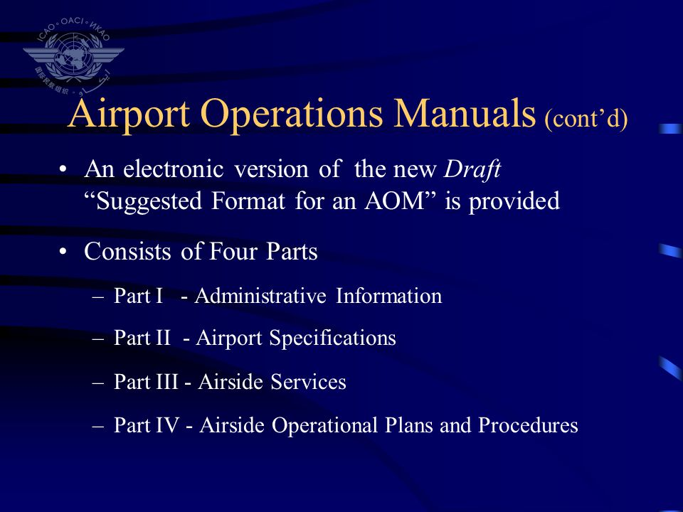 Airport Operations Manuals (cont'd)
