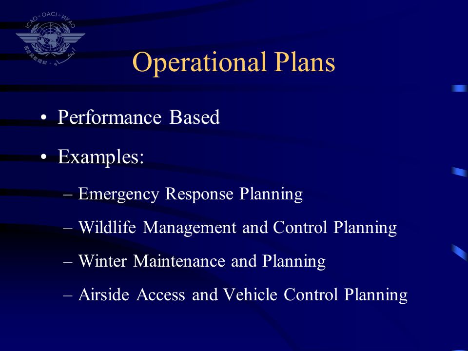 Operational Plans Performance Based Examples: