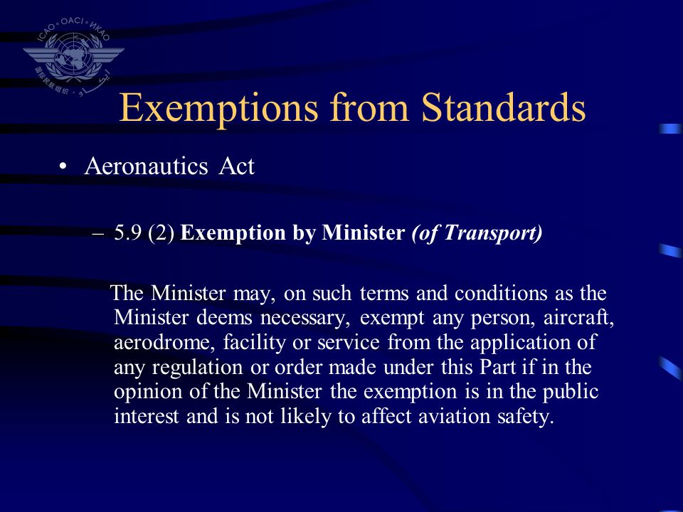 Exemptions from Standards