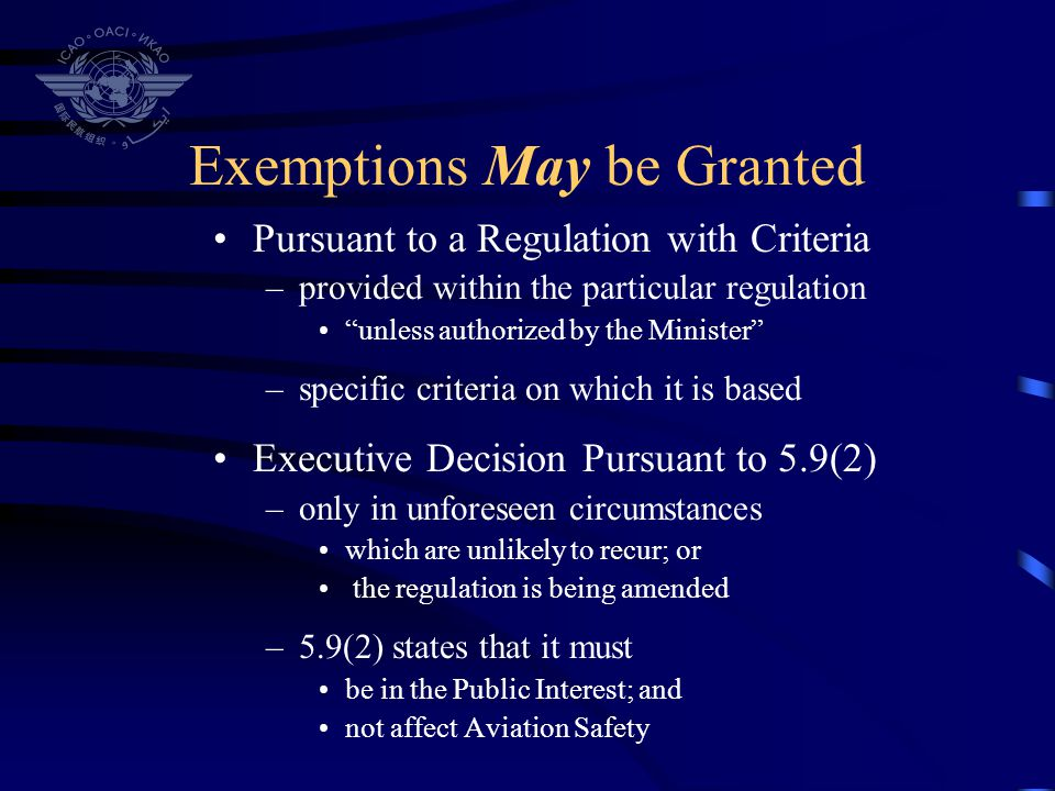 Exemptions May be Granted