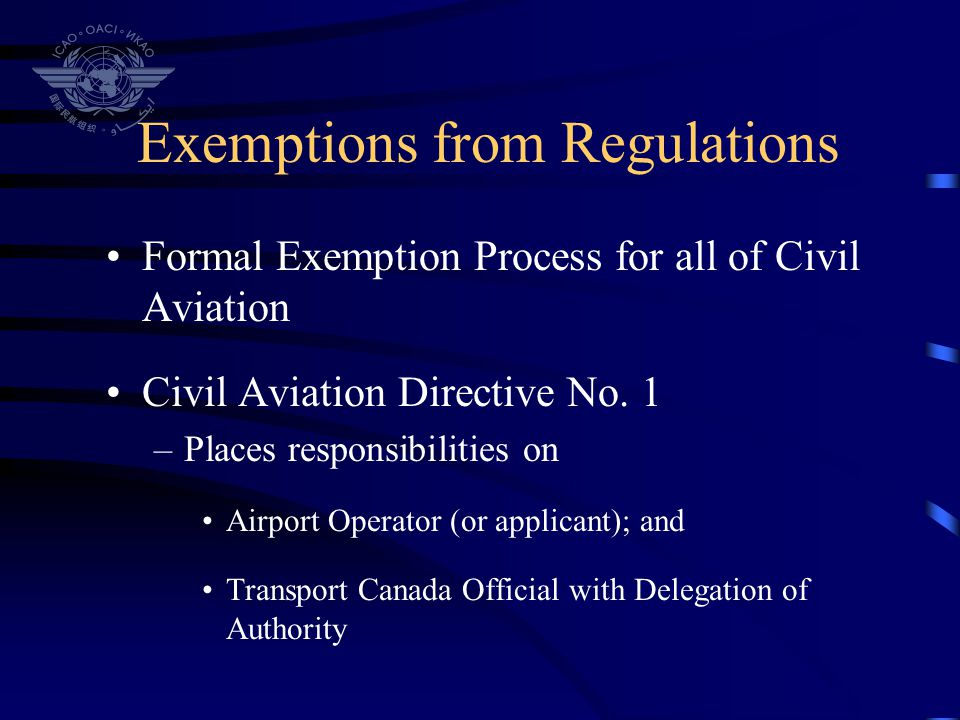 Exemptions from Regulations