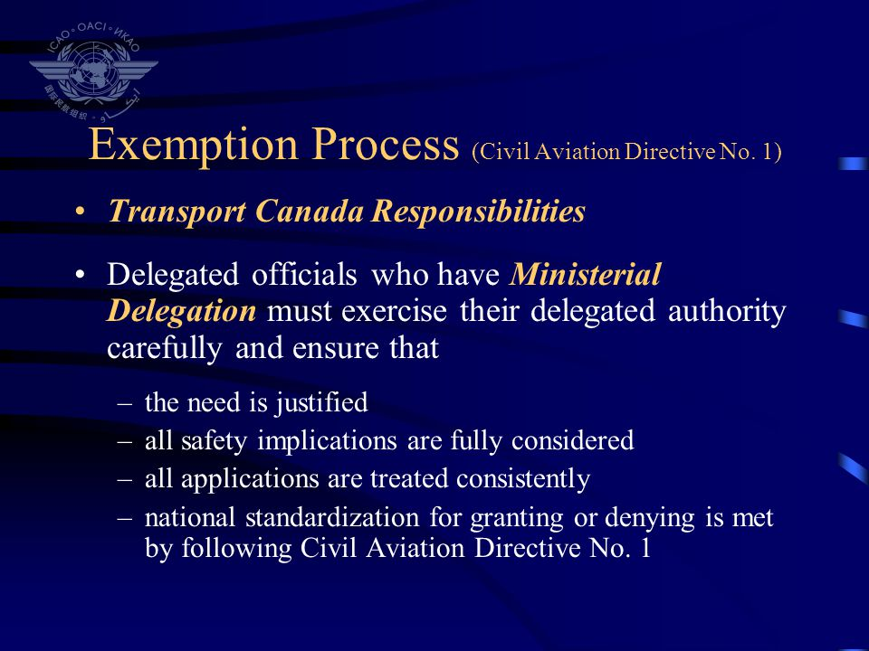 Exemption Process (Civil Aviation Directive No. 1)
