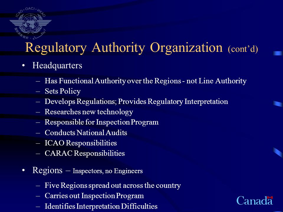 Regulatory Authority Organization (cont'd)