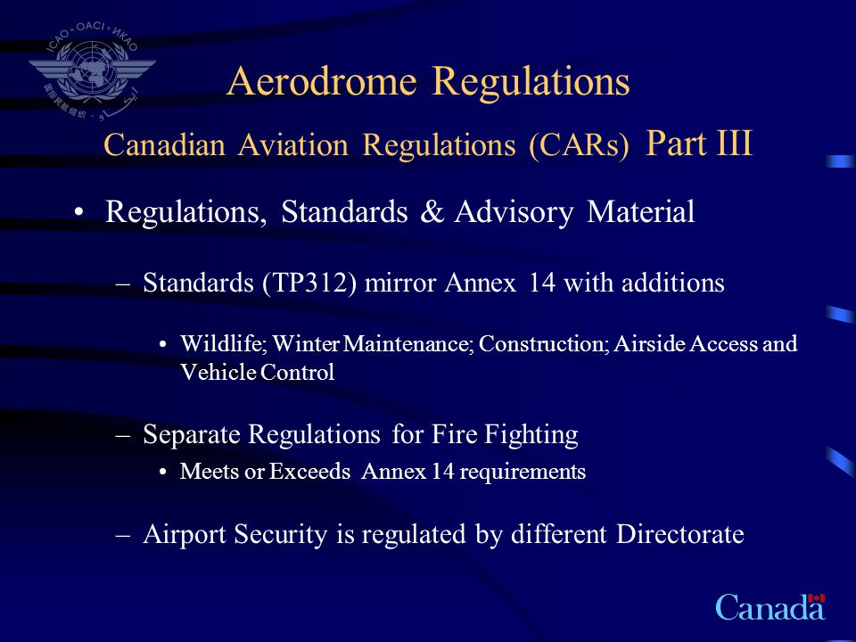 Aerodrome Regulations Canadian Aviation Regulations (CARs) Part III