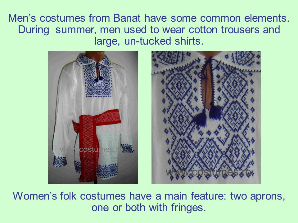 Men's costumes from Banat have some common elements