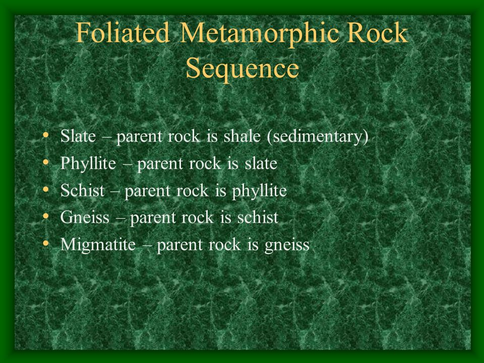 Foliated Metamorphic Rock Sequence