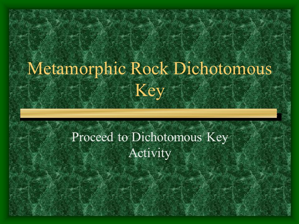 Metamorphic Rock Dichotomous Key