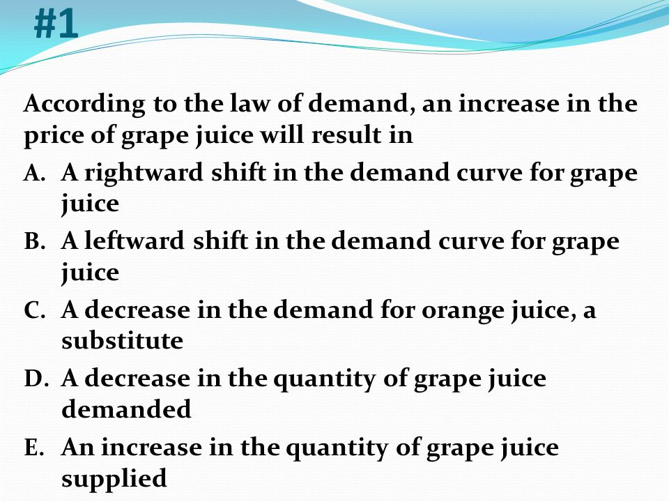 #1 According to the law of demand, an increase in the price of grape juice will result in. A rightward shift in the demand curve for grape juice.