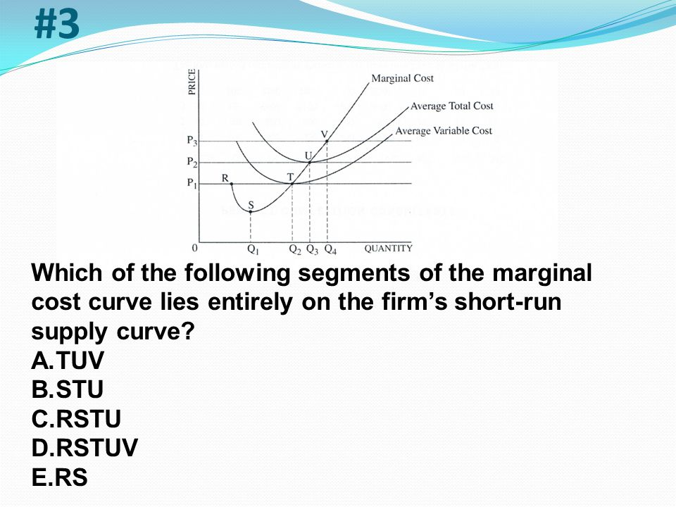 #3 Which of the following segments of the marginal cost curve lies entirely on the firm's short-run supply curve