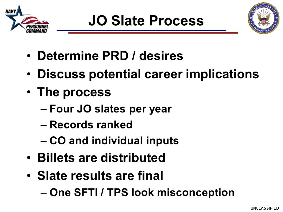 JO Slate Process Determine PRD / desires