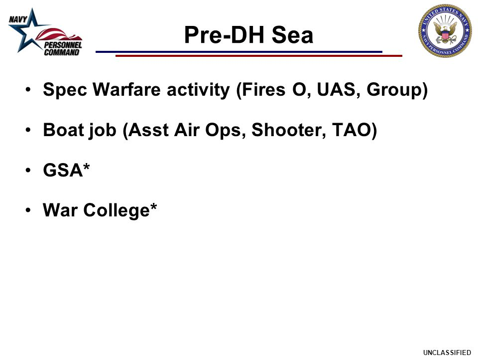 Pre-DH Sea Spec Warfare activity (Fires O, UAS, Group)