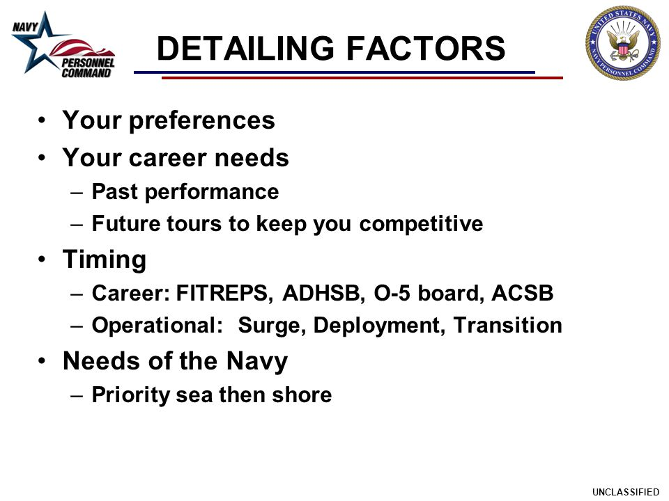 DETAILING FACTORS Your preferences Your career needs Timing