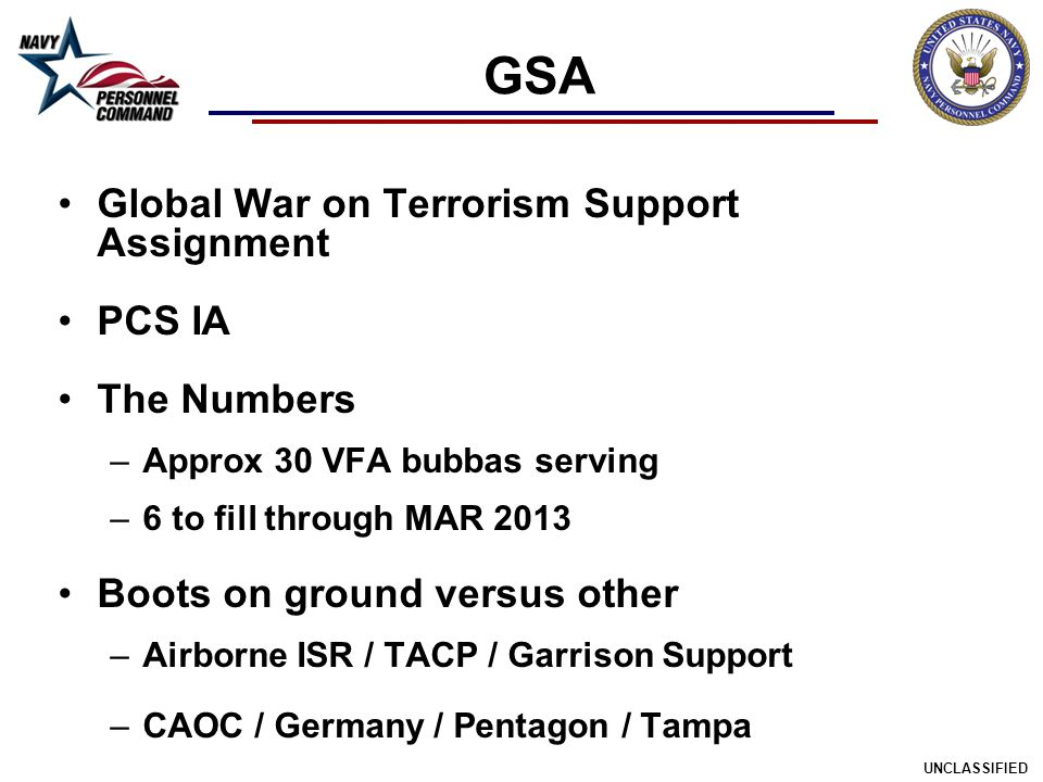 GSA Global War on Terrorism Support Assignment PCS IA The Numbers