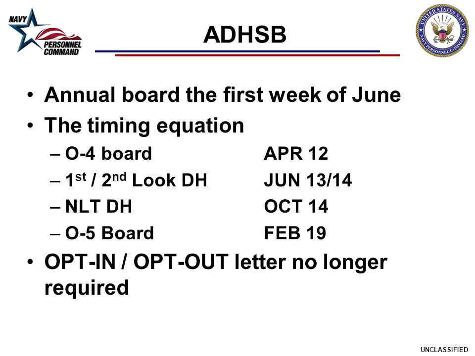 ADHSB Annual board the first week of June The timing equation