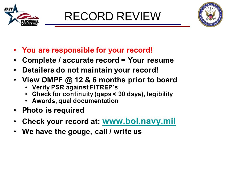 RECORD REVIEW You are responsible for your record!