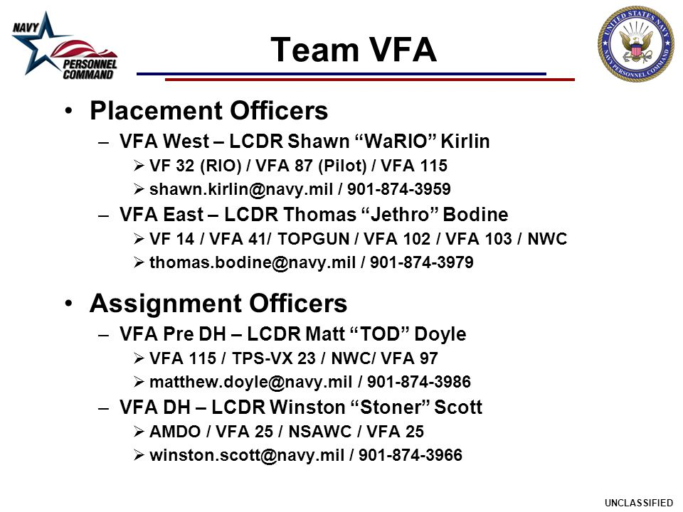 Team VFA Placement Officers Assignment Officers