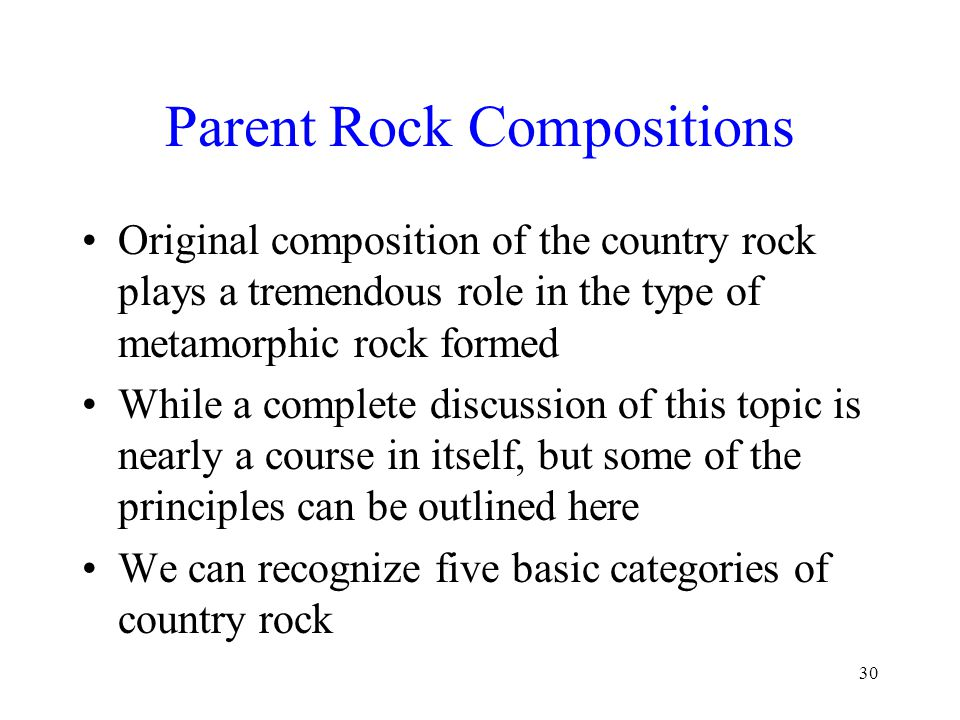 Parent Rock Compositions