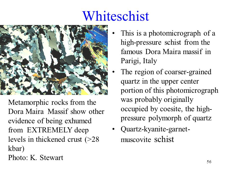 Whiteschist This is a photomicrograph of a high-pressure schist from the famous Dora Maira massif in Parigi, Italy.