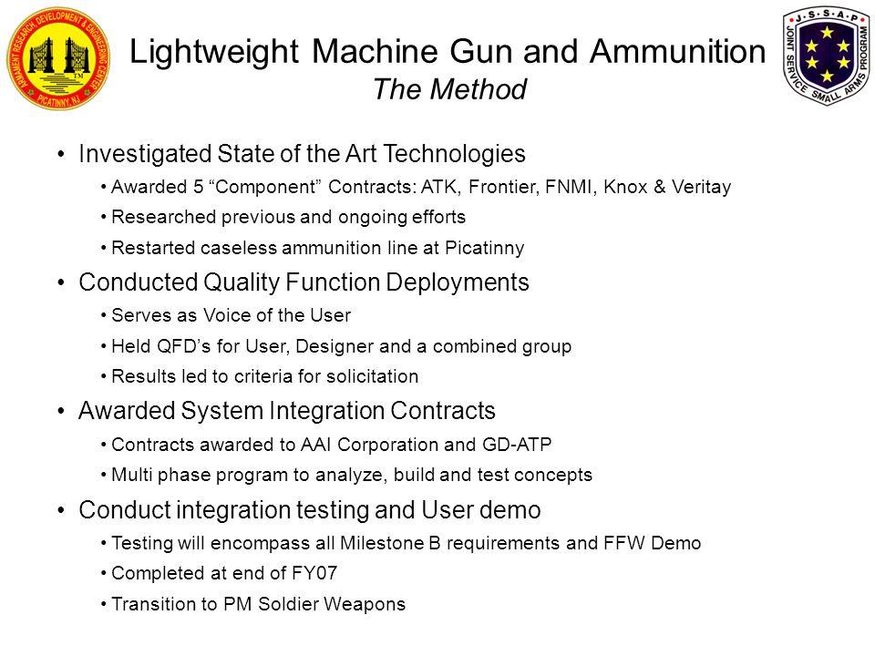 Lightweight Machine Gun and Ammunition The Method