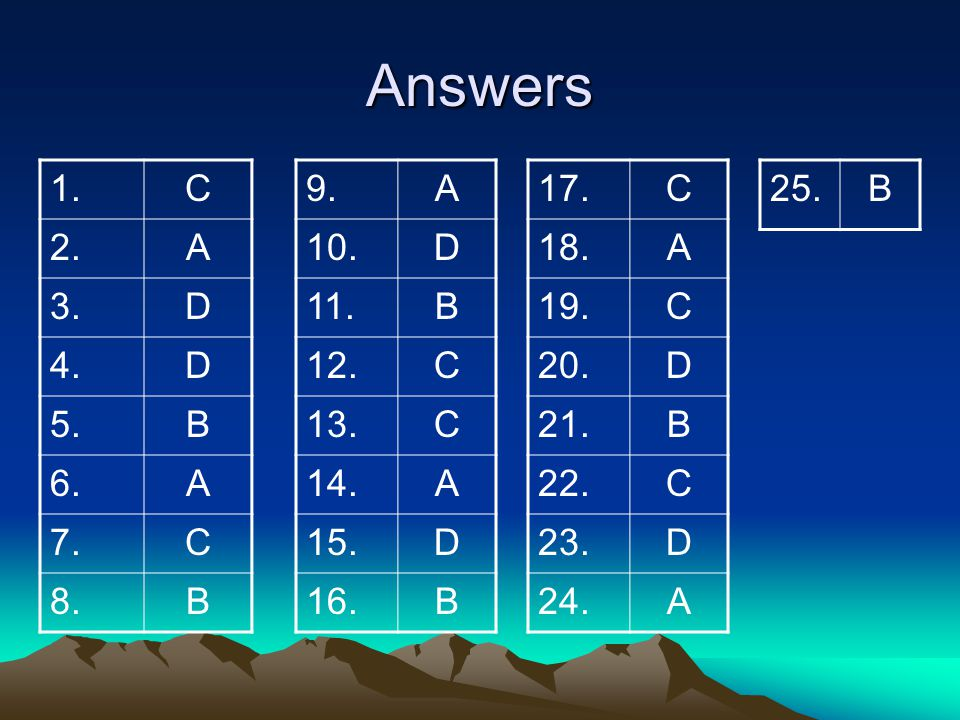 Answers 1. C. 2. A. 3. D. 4. 5. B. 6. 7. 8. 9. A. 10. D. 11. B. 12. C. 13. 14.