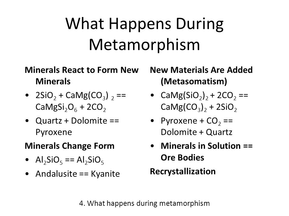 What Happens During Metamorphism