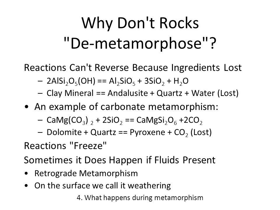 Why Don t Rocks De-metamorphose