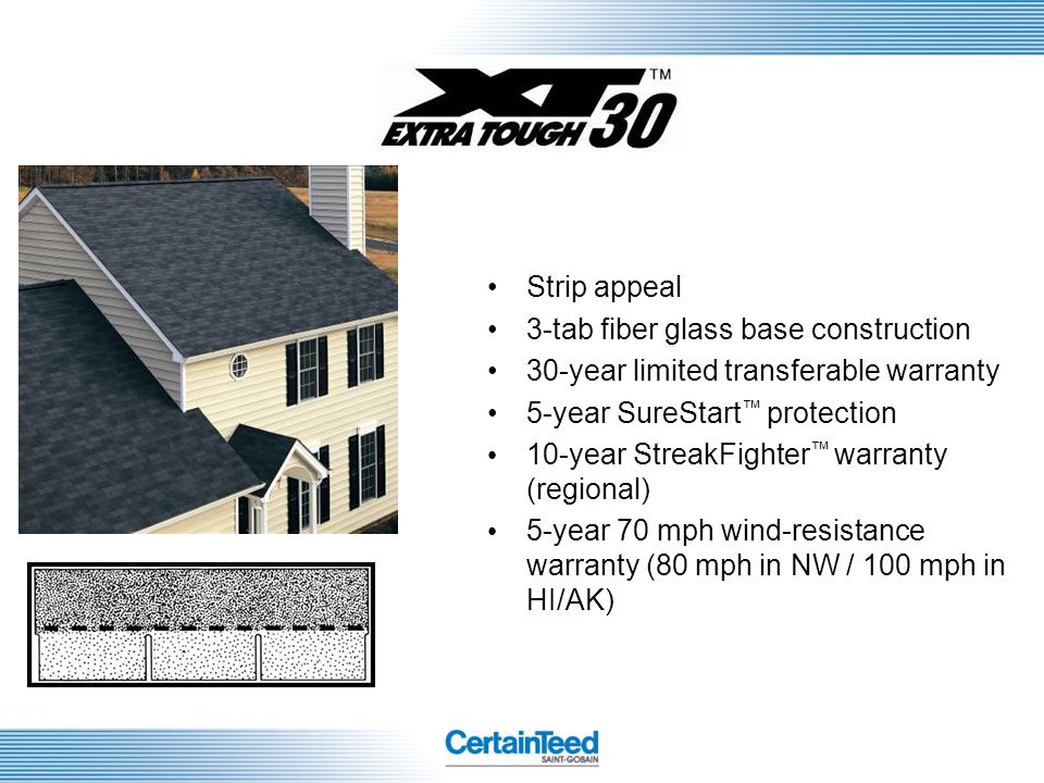 Strip appeal 3-tab fiber glass base construction. 30-year limited transferable warranty. 5-year SureStart™ protection.