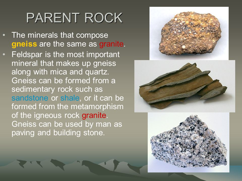 PARENT ROCK The minerals that compose gneiss are the same as granite.