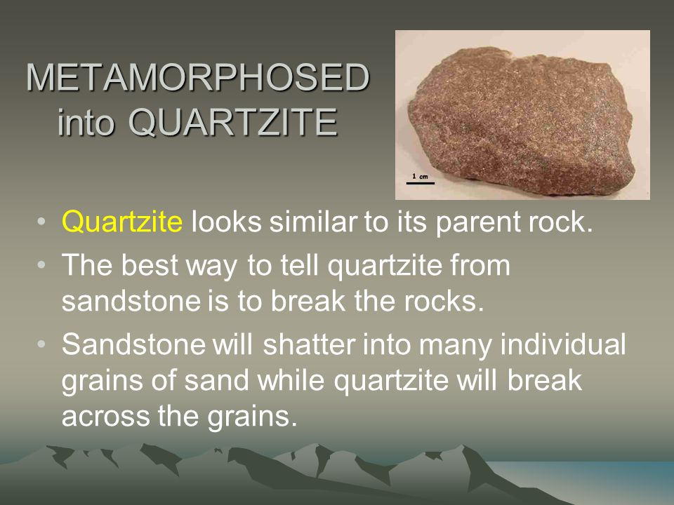 METAMORPHOSED into QUARTZITE