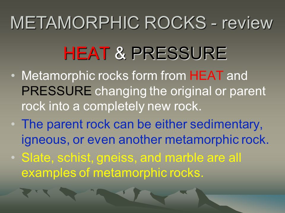 METAMORPHIC ROCKS - review