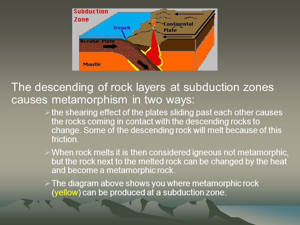 The descending of rock layers at subduction zones causes metamorphism in two ways: