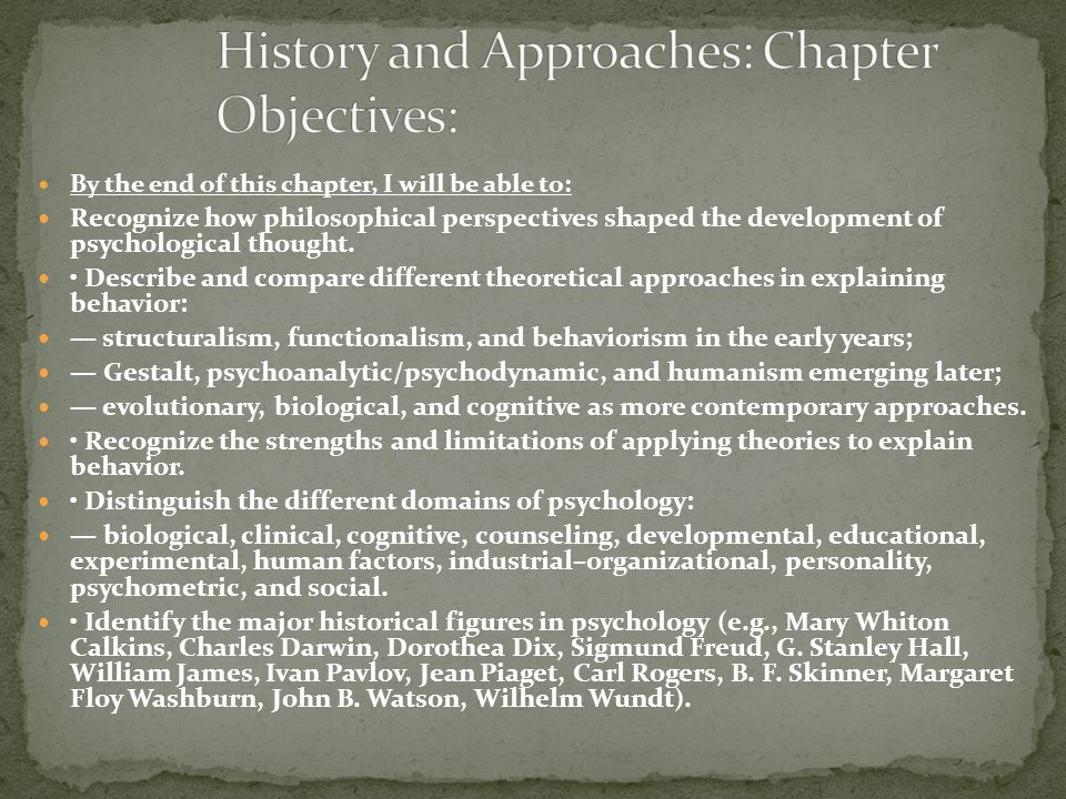 History and Approaches: Chapter Objectives: