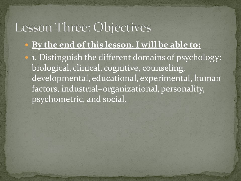 Lesson Three: Objectives