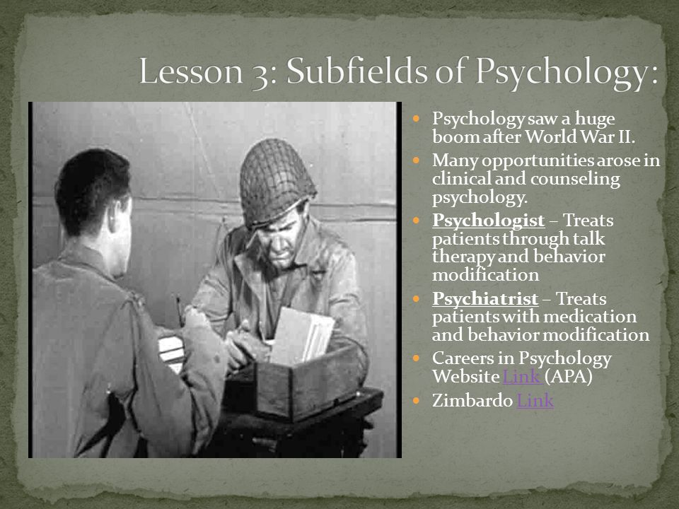 Lesson 3: Subfields of Psychology: