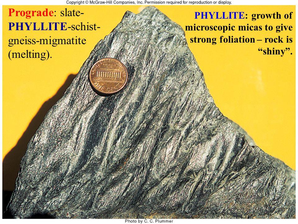 Prograde: slate-PHYLLITE-schist-gneiss-migmatite (melting).
