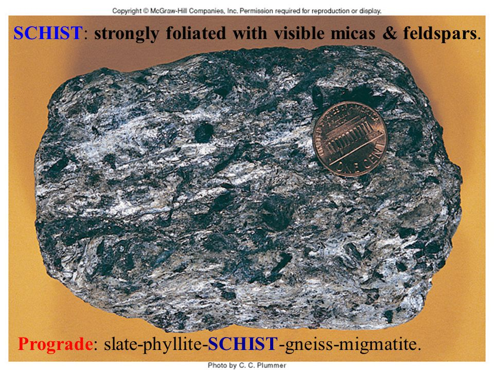 SCHIST: strongly foliated with visible micas & feldspars.