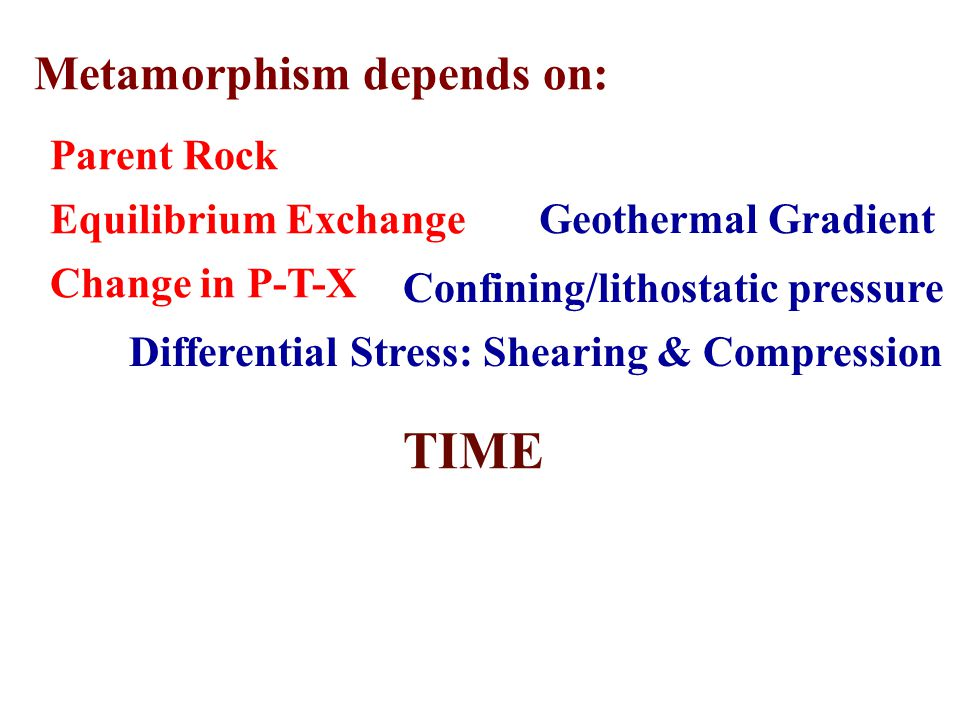 TIME Metamorphism depends on: Parent Rock Equilibrium Exchange