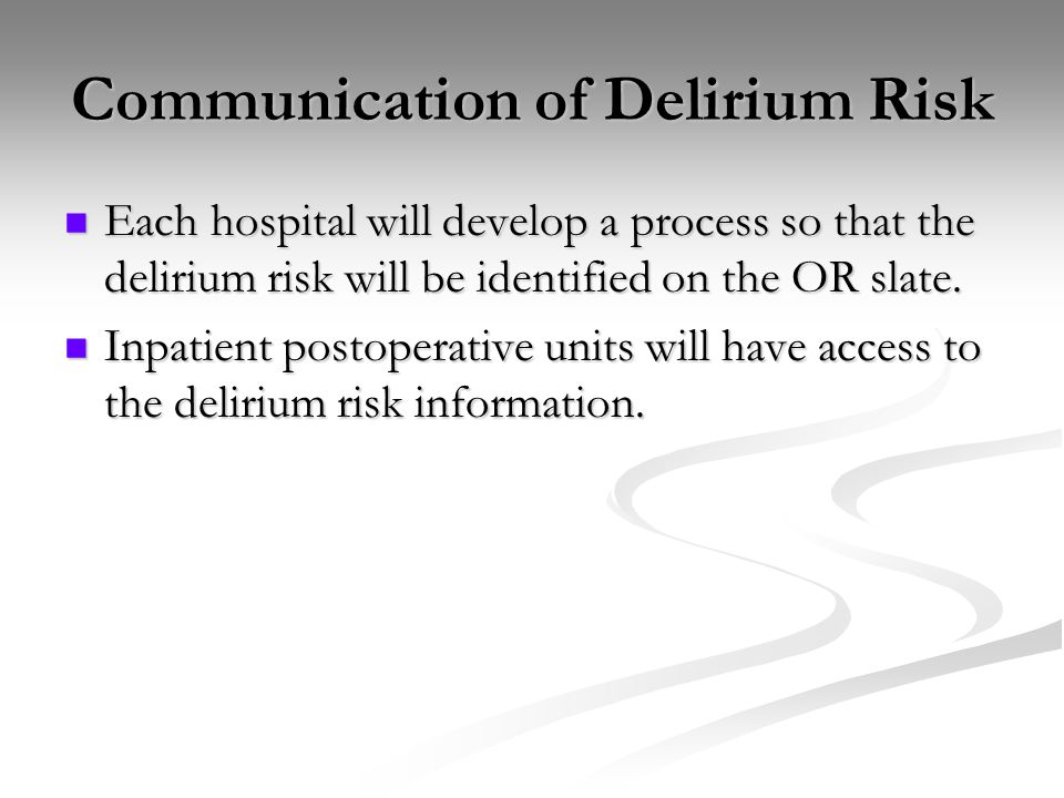 Communication of Delirium Risk