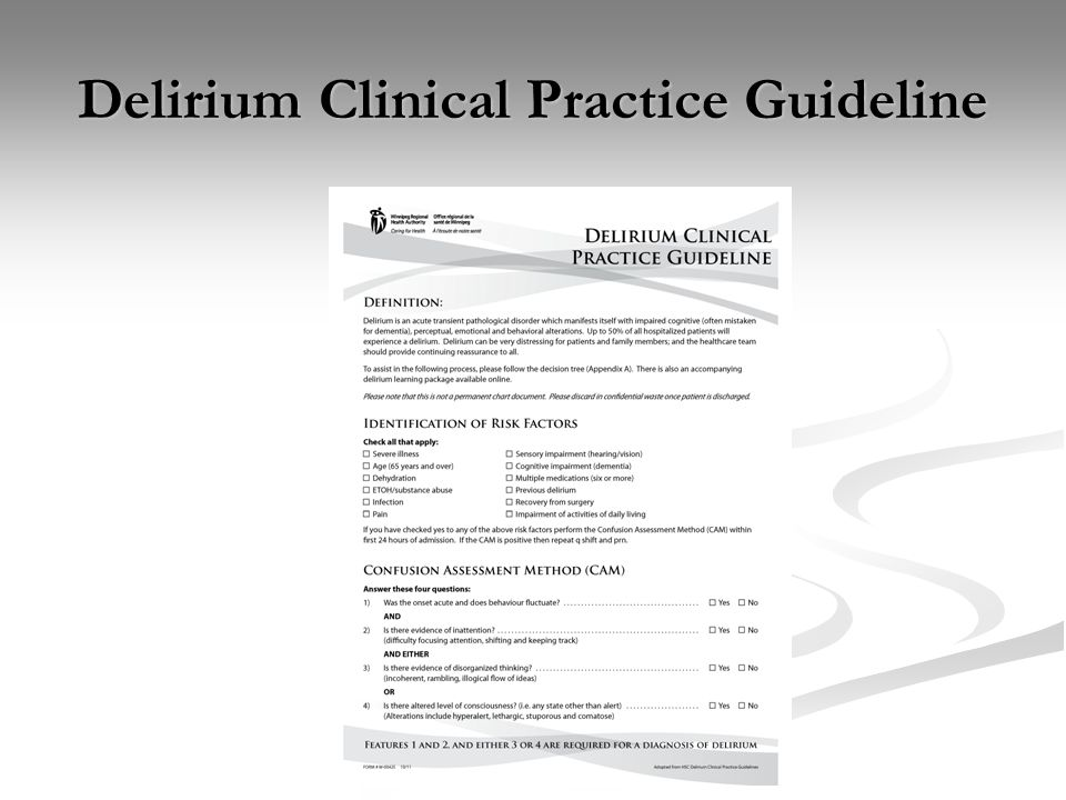 Delirium Clinical Practice Guideline