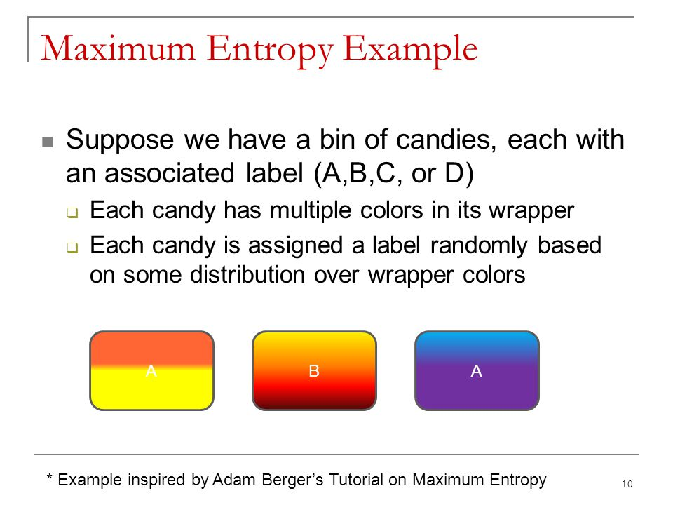 Maximum Entropy Example