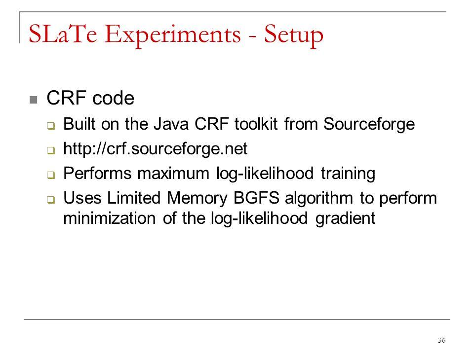 SLaTe Experiments - Setup